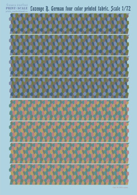 Print Scale 1/72 Lozenge B. German four color printed fabric / 005 /