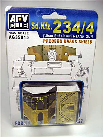 AFV Club 1/35 7,5cm PaK 40 Anti-Tank Gun Pressed Brass Shield for Sd.Kfz. 234/4 & 251/22 # AG35015