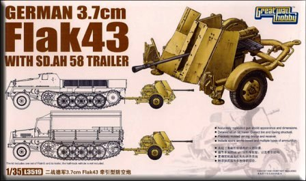 Great Wall Hobby 1/35 German 3.7cm Flak43 with Sd.Ah.58 Trailer # 3519