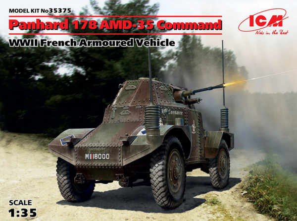 ICM 1/35 Panhard 178 AMD-35 Command, WWII French Armoured Vehicle # 35375