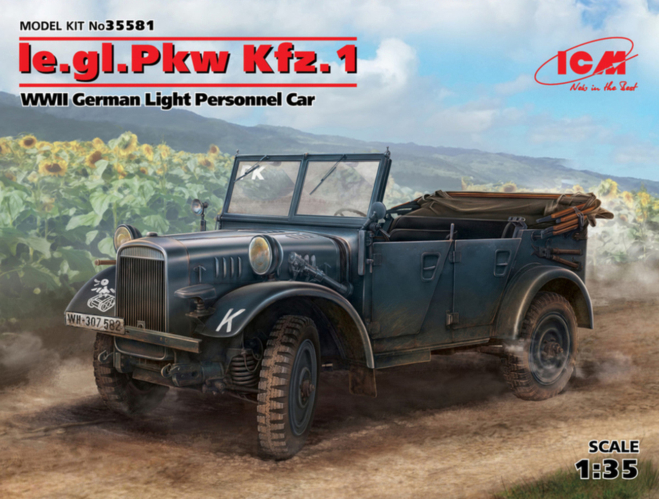ICM 1\35 le.gl.Einheits-Pkw Kfz.1, WWII German Light Personnel Car (100% new molds) # 35581