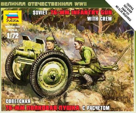 Zvezda 1/72 Soviet 76-mm Infantry Gun with crew # 6145