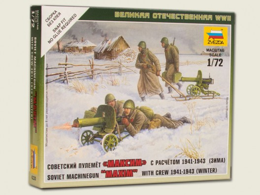 Zvezda 1/72 Soviet Machine Gun Crew WWII (Winter Season Clothes) # 6220