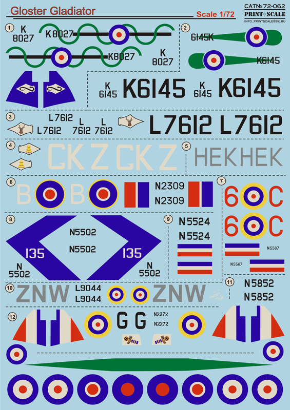 Print Scale 1/72 Gloster Gladiator # 72-062
