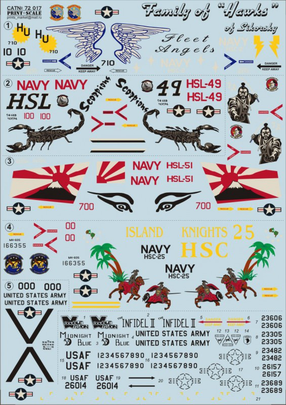 "Print Scale 1/72 Family of ""Hawks"" of Sikorsky / 72-017 /"
