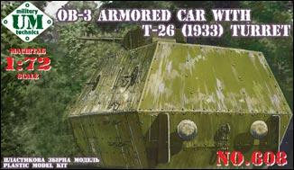 UMT 1/72 OB-3 armored railway car with T-26 turret # 608